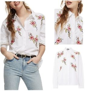 Topshop Love Me Grace Embroidered Shirt